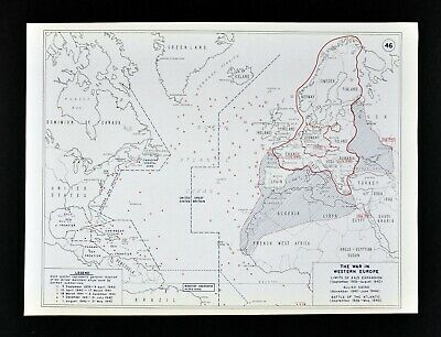 West Point WWII Map Axis Expansion Battle of the Atlantic German U Boats Europe