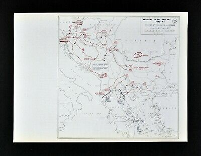 West Point WWII Map Balkans Campaign Greece Yugoslavia Invasion April 1941