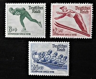 GERMANY- 1935 - THIRD REICH WINTER OLYMPICS Full set of 3 - MLH