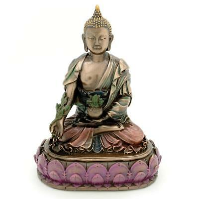 "MEDICINE BUDDHA STATUE 6"" Buddhist Wellness Icon Bronze Resin HIGH QUALIITY"