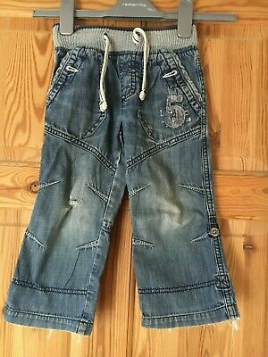 NEXT Boys Faded Blue Denim Adjustable Length Distressed Detail Jeans Age 2-3yrs