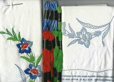 Vintage American Thread Floral Pillowcases Cross Stitch Embroidery Unfinished