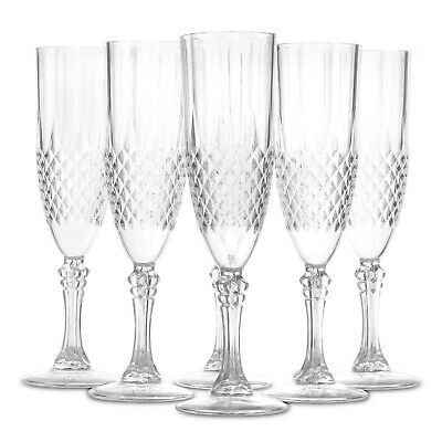 Pack Of 6 Crystal Effect Clear Plastic Champagne Flute Party Glasses Decorative