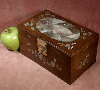 ANTIQUE ROSEWOOD MOTHER OF PEARL INLAID JEWEL SEWING BOX INDO CHINESE c1899