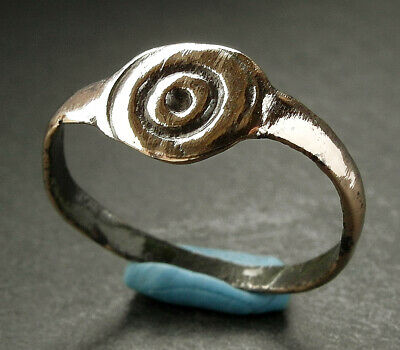 Large Genuine Ancient Celtic Bronze Ring With Sun Symbol - Uk Find