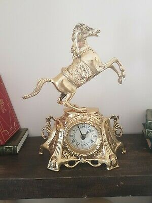 Large heavy chunky German antique brass Horse Clock Collectible very rare