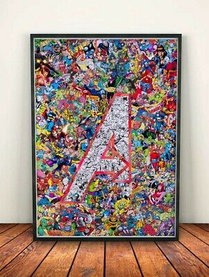 Avengers Art Collage Marvel Comics A4 Poster Heroes