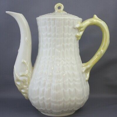 Belleek Tridacna Yellow Coffee Pot Lidded 3rd Green Mark