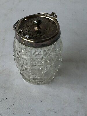 Crystal Cut Glass & EPNS Storage Jar With Handle And Lid