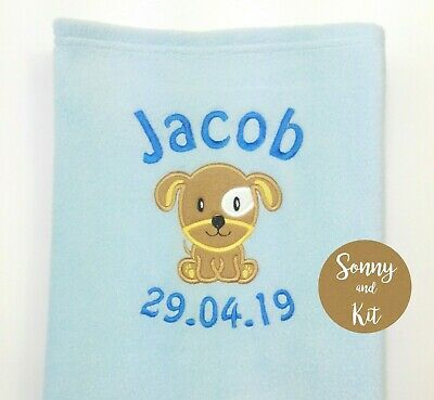 Personalised Baby Puppy Dog Blanket, Choice of Colour, Embroidered Gift, Unisex