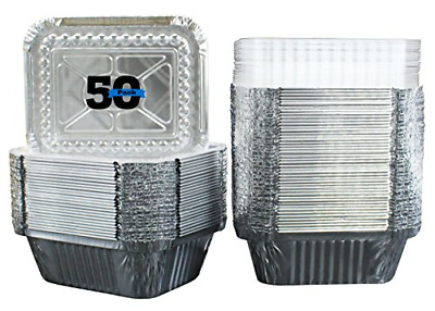 50 Pack Disposable Takeout Pans With Lids Aluminium Foil Food Containers Storage