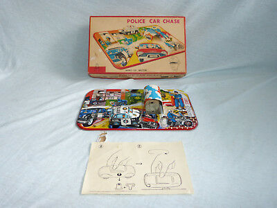TPS Toplay Police Car Chase Blech Auto Spiel 60er Jahre in Box Japan Tin Toy