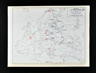 West Point WWII Map War Eastern Europe Russian Front German Gains Poland Russia