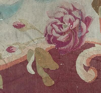 BEAUTIFUL LARGE SCALE TIMEWORN 19th CENTURY FRENCH AUBUSSON TAPESTRY FRAGMENT