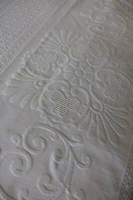 Antique 1910 Edwardian white cotton embossed woven quilted Marcella bedspread