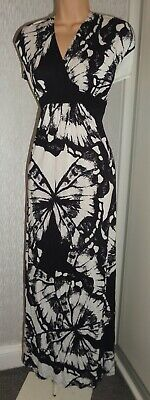 Pretty George Ladies Summer Holiday Long Black White Dress Size Uk 14, Eu 42