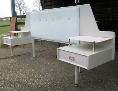 G Plan Retro Vintage Headboard With 2 Bedside Drawers With Shelves On Tola Legs