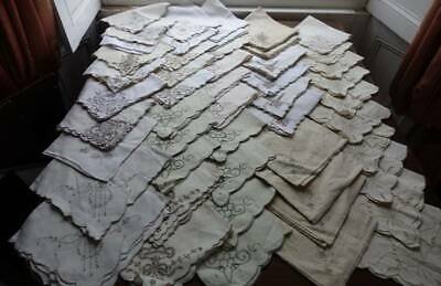 50 vintage large linen table napkins Madeira style taupe embroidery several sets