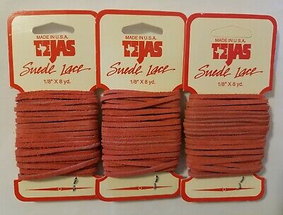 "Vintage TEJAS Genuine Suede Lace Cord 1/8"" (3 mm) x 8 yds Coral (Pack of 3) USA"