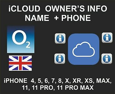 iCloud Owner info, Name and Number, iPhone and iPad, by IMEI, O2 UK