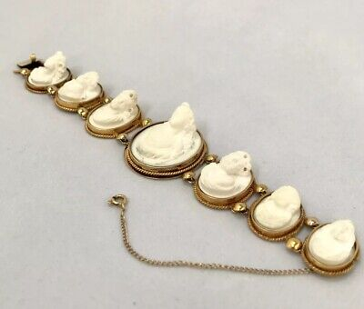 Antique Victorian 19th Century 14K Gold High Relief Carved Lava Cameo Bracelet