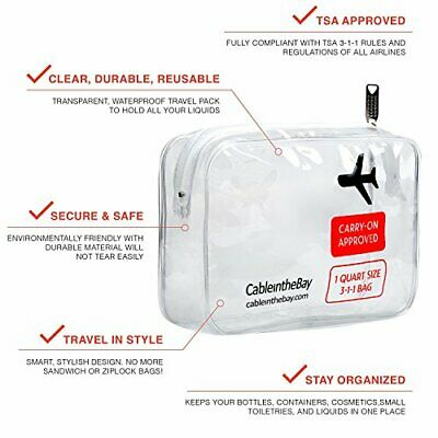 TSA Approved Clear Travel Toiletry Bag | Quart Sized with Zipper | Airport