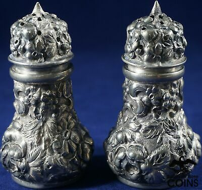 Lot of 2- Stieff Sterling Silver .925 Repousse Floral Salt & Pepper Shakers #10