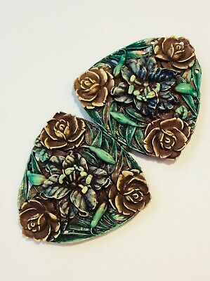 Vintage Greenbaum Early Plastic Two-Piece Belt Buckle Carved Green Caramel WOW!