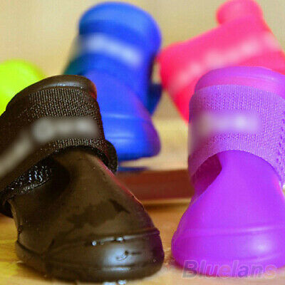 4x Pet Shoes Dog Waterproof Rain Boots Booties Rubber Shoes Candy Colors Code