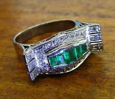 Vintage palladium ART DECO ANTIQUE 1920s COLOMBIAN EMERALD DIAMOND FILIGREE ring