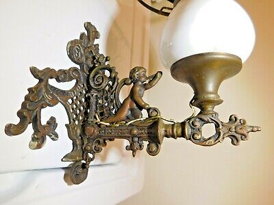 Antique Ornate Bronze? Wall Sconce Lamp with Cherub Putti Converted? - NO SHADE