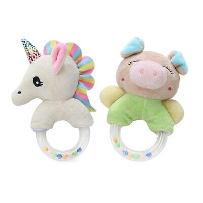 Baby Cartoon Unicorn Plush Rattle Bells Kids Hand Grasp Ring Bell Soft Dolls Toy
