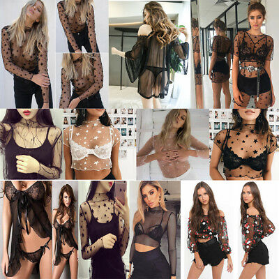 Women Girls Mesh Sheer Crop Top Long Sleeve Transparent T-Shirt Blouse Tee Tops