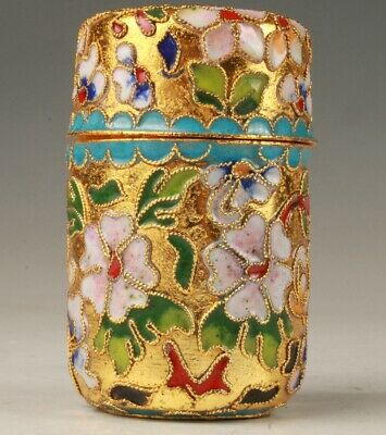 Chinese Cloisonne Enamel Jar Toothpick Box Old Handmade Crafts Collection Gift