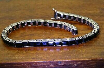 Vintage silver ART DECO 1920's 1930's ANTIQUE EMERALD CUT ONYX TENNIS bracelet