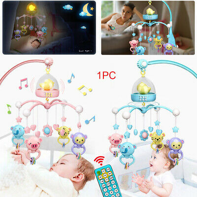 Bed Bell Kids Crib Mobile Cot Music Box Night Lights Baby Rattles Toy 120 Song