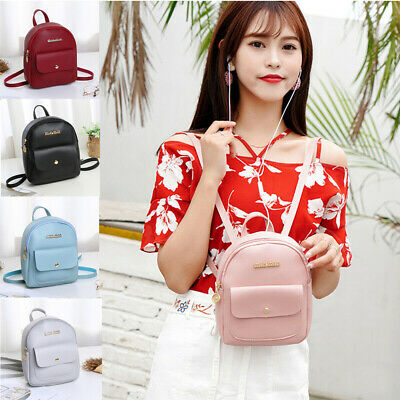US Women Girls Mini Faux Leather Backpack Rucksack School Bag Travel Handbag HOT