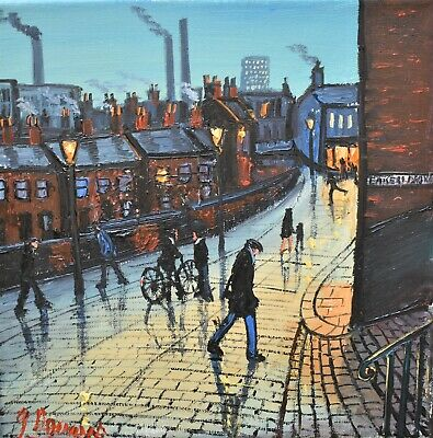 James Downie Original Oil Painting - Another Day In Town (Northern Art)