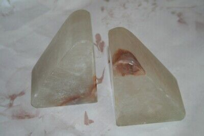 Vintage Art Deco Triangular Marble/Alabaster Bookends 1930s/40s Book Ends Prop