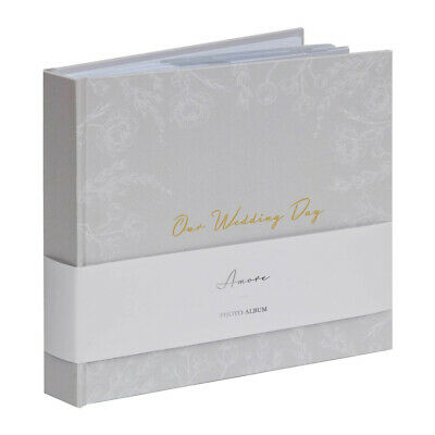 Grey White Floral ''Our Wedding Day'' Gold Titling Photo Album 5x7'' Picture 7x5