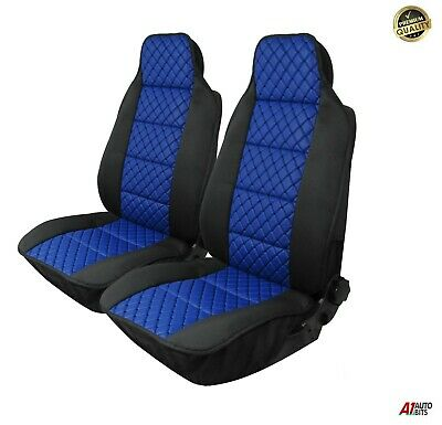 Set Of Front Luxury Blue Leatherette & Fabric Seat Covers For Audi A4 A6 Q7 Q5