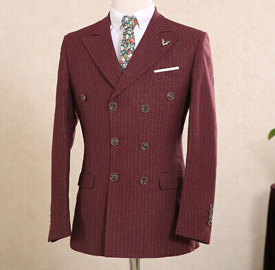 Wine Red Mens Suits For Weddings Italy Pinstripe Double-breasted Peak Lapel Suit