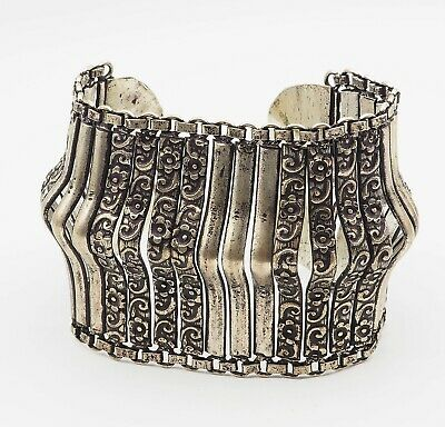 Antique Old tribal Flower Deorated Handcrafted Silver PLATED Cuff BRACELET
