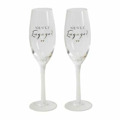 Newly Engaged Pair of Champagne Glass Set Of 2 Engagement Gift
