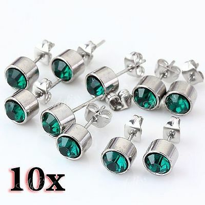 10pcs Green Crystal Stainless Steel Silvery Round Ear Stud Earring Punk Cool BE