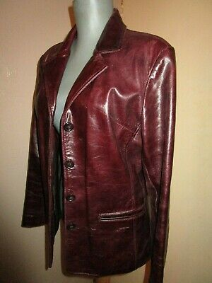 Vintage insp OXBLOOD Burgundy Red LEATHER JACKET 12 UK fits 10 UK high quality