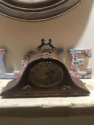 Vintage Mahogany Mantle Clock 8 Day Movement wind up 2 brass horses antique