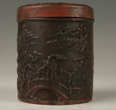 CHINESE RED COPPER TOOTHPICK BOX OLD RELIEF LANDSCAPE CRAFTS COLLECTION GIFT x