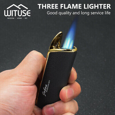 Snake Mouth Ignitor Refillable Butane Torch Cigar Punch Three Flame Lighter 22B