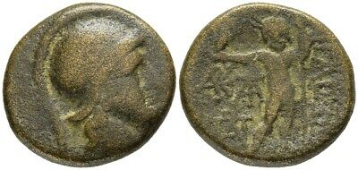 FORVM Aigai Aiolis 2nd-1st c. BC Head of Athena/ Zeus Standing Nude Holds Eagle